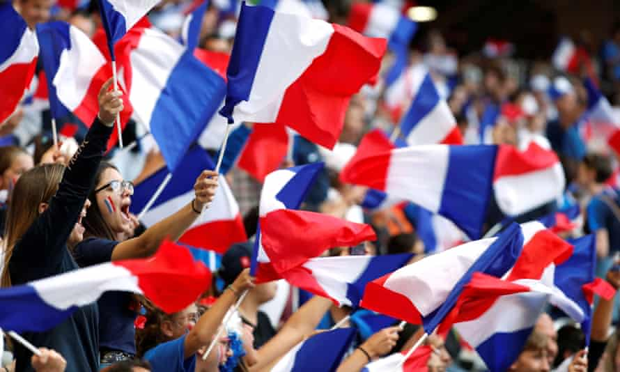 France fans at the Stade de Nice demonstrate the enthusiasm that is sweeping the Women's World Cup hosts