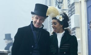 The Doctor laughs, presumably after knocking out a racist.