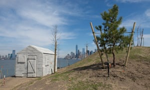 Silent witness: Cabin in New York, with Lower Manhattan in the distance.