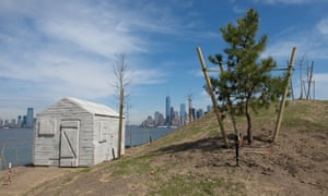 Rachel Whiteread's Cabin with Lower Manhattan in the distance.