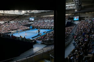 Nick Kyrgios during a change of ends at Hisense Arena on day 1.