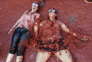 Festivalgoers wearing goggles at La Tomatina in Spain