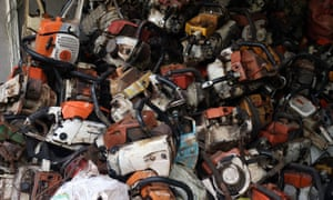 Confiscated chainsaws used for illegal logging in Keo Seim.