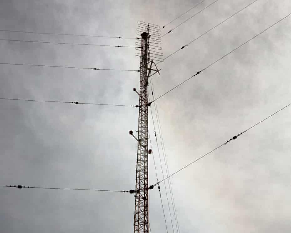 The radio tower for all five stations in Willcox, Arizona on May 9th 2019