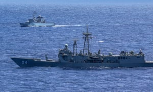 HMAS Darwin in foreground with French frigate FNS Nivose
