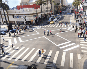 The scramble crosswalk at Hollywood Blvd and Highland in Los Angeles