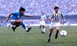 Diego Maradona in action for Napoli during a Serie A match between Napoli and Juventus in the mid-1980s.