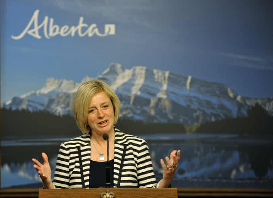 The Alberta NDP leader, Rachel Notley, speaks at her first news conference as after winning 2015's election.