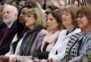 Jeremy Corbyn (L), Labour MP Dawn Butler (2nd L) and Labour MP Harriet Harman (2nd R) attend the unveiling