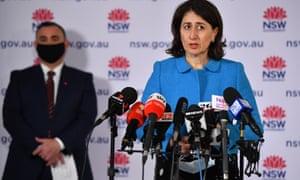 NSW premier Gladys Berejiklian speaks to the media during in Sydney on Monday.