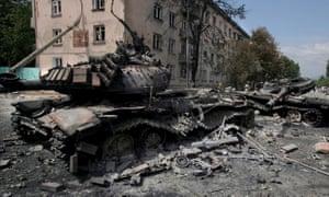 Destroyed Georgian tanks in Tskhinvali, South Ossetia, in August 2008