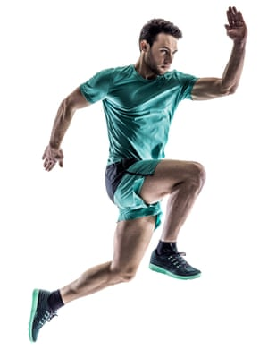 Man running against white background