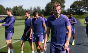 Harry Kane at Tottenham training on Friday.