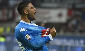 Napoli midfielder Lorenzo Insigne celebrates after scoring his second goal in the 4-0 win over Milan.