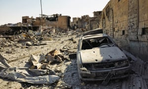 Airstrikes have levelled parts of the city and cars have been reduced to skeletons.