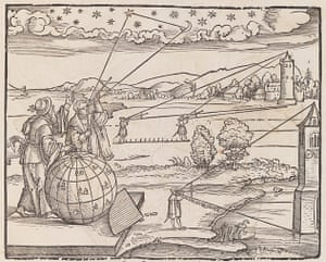 Measuring the lunar distance, from Petrus Apianus, Introductio Geographica, Ingolstadt, 1533