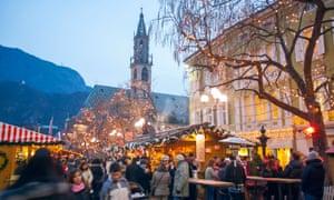 Bolzano Cathedral and christmas market.
