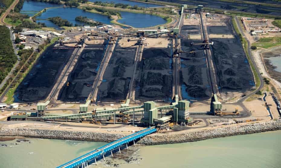 Coal sits at the Hay Point coal terminals near Mackay