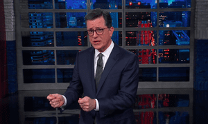 """Stephen Colbert: """"I just want to to remind you that the mildly nauseous feeling you have is because for the last two years, Donald Trump has been spinning you in a tumble dryer full of turd""""."""