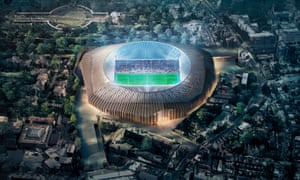 A computer generated image of what the new 60,000-seater Stamford Bridge will look like.