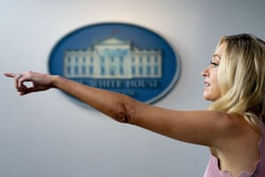 Washington DC, USWhite House press secretary Kayleigh McEnany points to a reporter during a press briefing at the White House