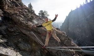 Mickey Wilson slack lining in Clear Creek canyon near Golden, CO.