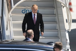 Russian President Vladimir Putin descends the stairs of his plane for the US-Russia summit with US President Joe Biden in Geneva, Switzerland.