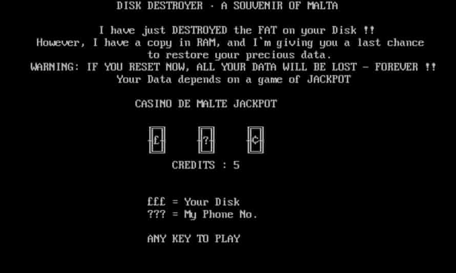 the Casino virus in the Malware Museum
