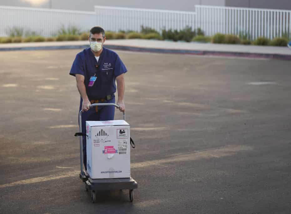 Coronavirus vaccines delivered in San Diego, California. The state began rolling out its first doses this week.