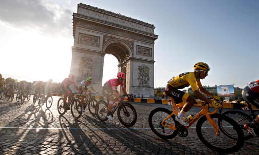 Colombia's Egan Bernal (right) passes the Arc de Triomphe during the 21st and final stage of the Tour de France.