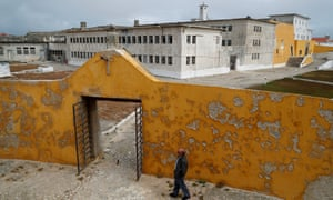 Domingos Abrantes walks to the former political prison in Peniche which has become a museum.