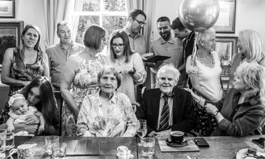 Wilf Cockbain, seated, centre right, with family and friends at his 104th birthday celebration in 2019