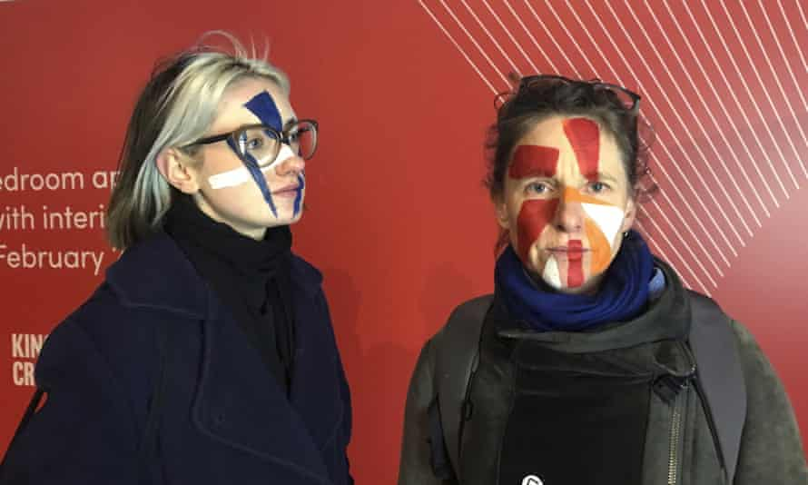 Artists Georgina Rowlands (left) and Anna Hart (right), of the Dazzle Club, which holds monthly walks in London to raise awareness of AFR technology and 'rampant surveillance'. Their facepaint is to confuse the cameras.