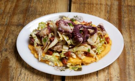 octopus with confit chorizo with smoked humus