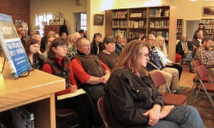 Residents attend a public meeting in Tunbridge, Vermont to discuss the NewVistas development, which many oppose.