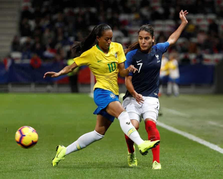 France's Amel Majri in action with Brazil's Adriana Leal da Silva at the Stade de Nice.
