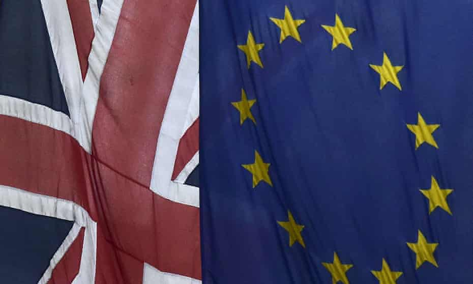 The union jack and the flag of the EU.
