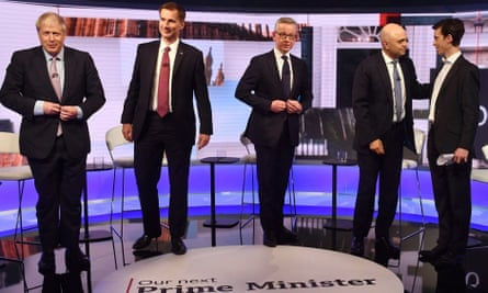 Conservative leadership candidates Boris Johnson, Jeremy Hunt, Michael Gove, Sajid Javid and Rory Stewart at the end of the TV debate.