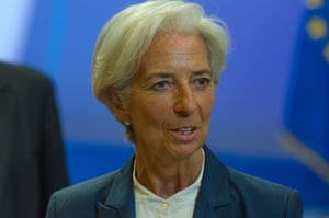 Eurozone leaders' summit reach agreement on Greek bailout<br>13 Jul 2015, Brussels, Belgium --- Brussels, Belgium. 13th July 2015 -- Christine Lagarde, managing director of the International Monetary Fund (IMF), speaks with journalists following overnight bailout talks in Brussels, Belgium. -- The leaders of the 19 euro zone countries have reached an agreement with Greece for a bailout program following overnight negotiations in Brussels, Belgium. --- Image by © Jonathan Raa/Demotix/Corbis