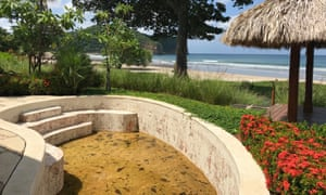 A leaf-filled pool at Nicaragua's now abandoned premier resort, Mukul, which closed in June.