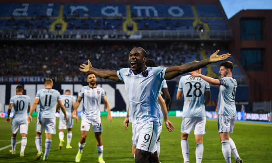 Michail Antonio expresses his delight after putting West Ham  on the path to victory in their Europa League tie at Dinamo Zagreb.