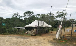 Empty security posts at the Australian-run immigration facilities on Manus Island after staff walked off the job on Tuesday in protest against low wages and poor conditions.