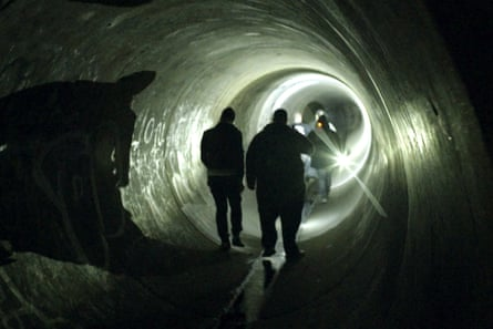 Images and people from the film Ghosthunter, a documentary about Sydney security guard Jason King who is also a part-time ghost hunter, who has spent two decades searching for his absent father. Ghost hunts in a tunnel.