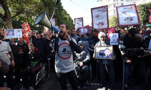 Relatives of people killed and injured in the Tunisian revolution mark the seventh anniversary in the capital