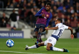 Ousmane Dembélé robbed Kyle Walker-Peters early in the first half before finishing neatly past Hugo Lloris to give Barcelona to lead.