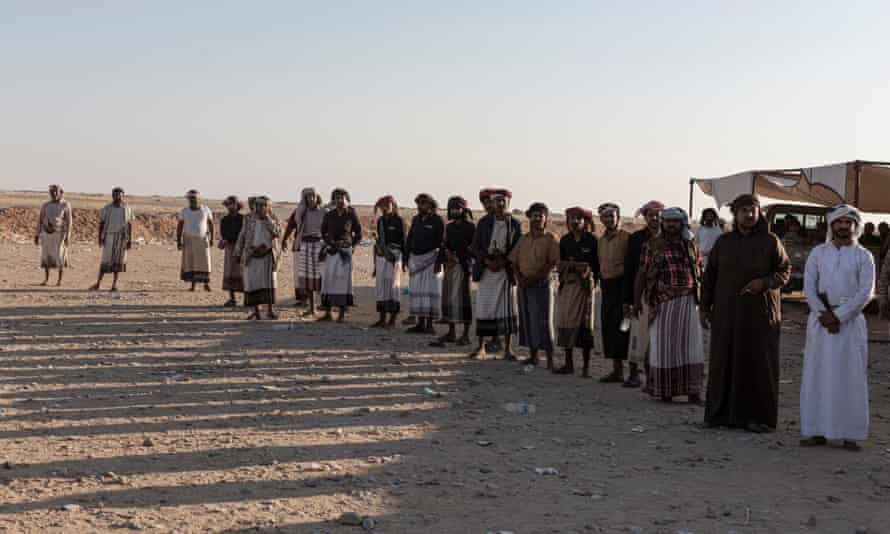 Men from Al Hajar whose relatives died during in an Emirati-backed airstrike at the protest camp near the UAE at Al-Alam, in Shabwa province, Yemen.