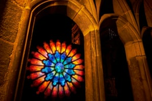 'Litre of Light' a rose window created using thousands of recycled plastic bottles set in the cloisters at Durham Cathedral