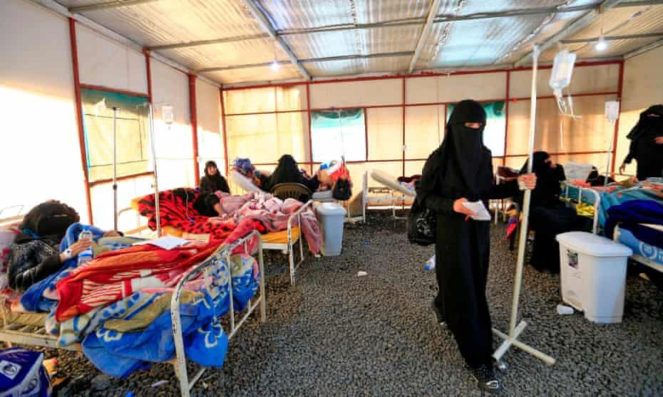 Yemenis at a cholera treatment centre in the capital, Sana'a