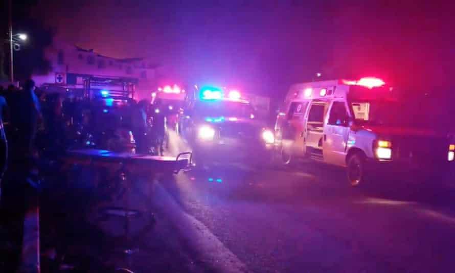 Emergency personnel arrive in Tlahuelilpan, Hidalgo, Mexico.