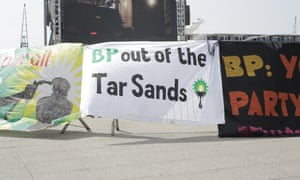 A protest outside the 2015 BP AGM. BP is continuing to search for more oil even though scientists are clear that we can't burn most of the reserves we already know about.